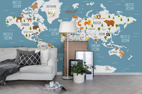 3D Cartoon Animals World Map Wall Mural Wallpaper 01
