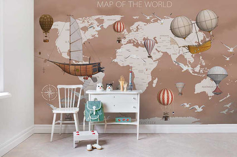 3D Hot Air Balloon World Map Wall Mural Wallpaper 14