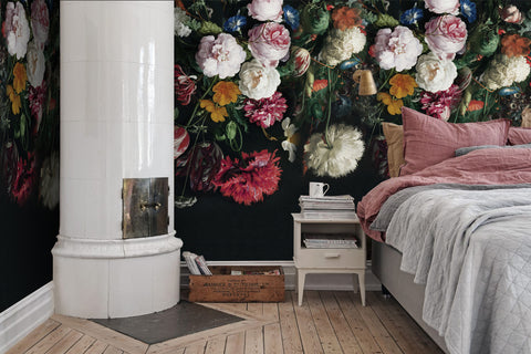 3D watercolor pink floral wall mural wallpaper 03