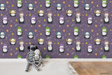 Cartoon Musical Knitted Hat Penguin Animal Purple Wall Mural Wallpaper LXL