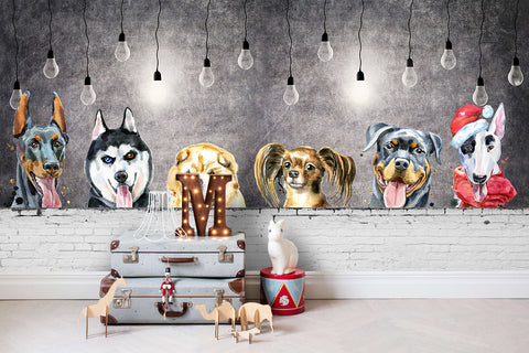 3D Brick Wall Lovely Dogs Wall Mural Wallpaper 50