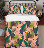 3D Green Leaf Parrot Quilt Cover Set Bedding Set Pillowcases 119