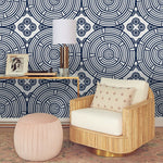 3D Blue Line Circle Wall Mural Wallpaper 39