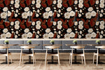 Vintage Floral Red Leaves Plant Pattern Black Wall Mural Wallpaper LXL