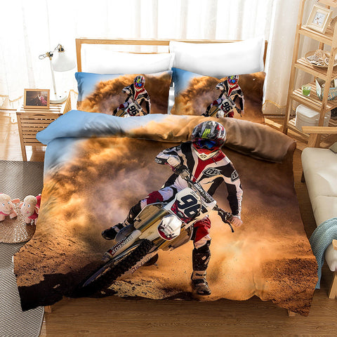 3D Extreme Motorcycle Quilt Cover Set Bedding Set Pillowcases 5