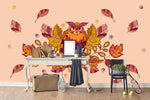 3D Watercolor Owl Leaves Wall Mural Wallpaper 54