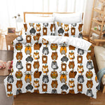 3D Hand Drawn Animal Bear Owl Quilt Cover Set Bedding Set Duvet Cover Pillowcases 112 LQH