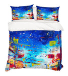 3D Blue Graffiti Quilt Cover Set Bedding Set Pillowcases 35