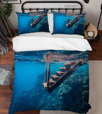 3D Pexels Deep Blue Ocean Wooden Stairs Quilt Cover Set Bedding Set Duvet Cover Pillowcases LXL