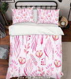 3D Pink Flowers Leaves Quilt Cover Set Bedding Set Pillowcases 236