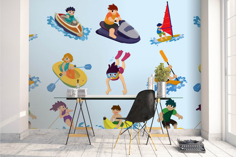 3D cartoon sea games wall mural wallpaper 65