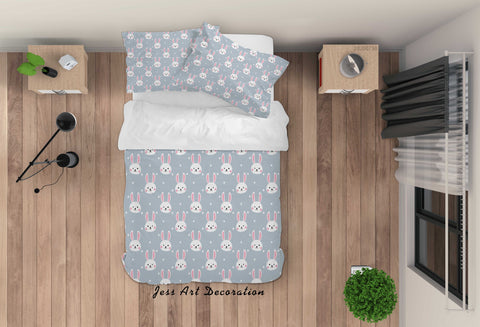 3D Cartoon Blue Bunny Quilt Cover Set Bedding Set Duvet Cover Pillowcases LXL 64
