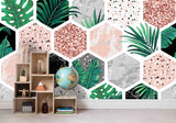 3D Modern Hexagon Leaves Wall Ship Mural Wallpaper 34