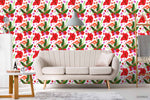 3D Oil Painting Red Floral Leaves Plant Wall Mural Wallpaper LXL 1357