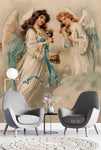 3D Angel Girl Wing Bells Oil Painting Mural Wallpaper WJ 1325