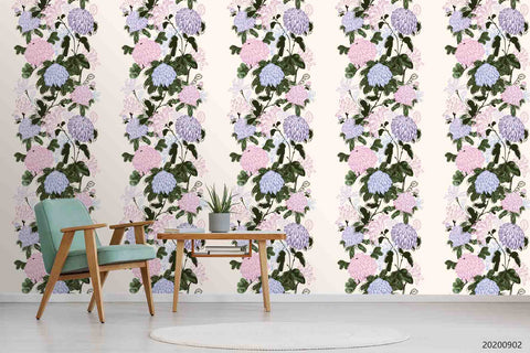 3D Hand Sketching Pink Blue Floral Leaves Plant Wall Mural Wallpaper LXL 1304