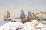 3D seaside fishing village oil painting wall mural wallpaper 25