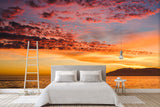3D dusk sunset sea wall mural wallpaper 37