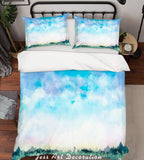 3D Watercolor Blue Sky Forest Quilt Cover Set Bedding Set Pillowcases 30