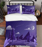 3D Purple Moon Meteor Hill Trees Quilt Cover Set Bedding Set Pillowcases 23