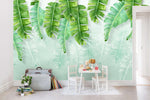 3D Watercolor Green Tropical Leaves Wall Mural Wallpaper 08