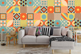 3D square floral geometric wall mural wallpaper 85