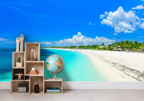 3D Blue Sky Beach Wall Mural Wallpaper 23