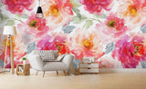 3D Watercolor Pink Floral Wall Mural Wallpaper 56
