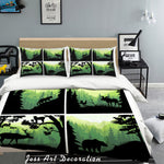 3D Green Mountains Forest Animal Elk Quilt Cover Set Bedding Set Pillowcases 71