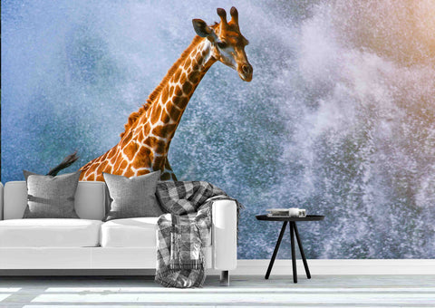 3D Giraffe Running Water Splash-b Wall Mural Wallpaper 18