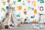3D animals colorful letters wall mural wallpaper 06