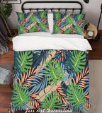 3D Green Leaves Quilt Cover Set Bedding Set Pillowcases 158
