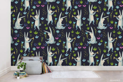 Cartoon Blue Bunny Animal Colorful Plant Wall Mural Wallpaper LXL