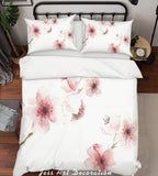 3D Watercolor Pink Flowers Quilt Cover Set Bedding Set Pillowcases 242