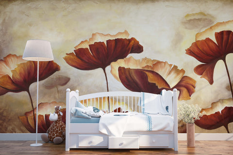 3D dark red lotus leaves wall mural wallpaper 45