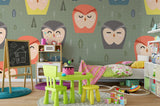 3D Cartoon Colorful Owl Leaves Wall Mural Wallpaper 17