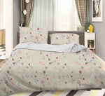 3D Grey Floral Quilt Cover Set Bedding Set Pillowcases 08