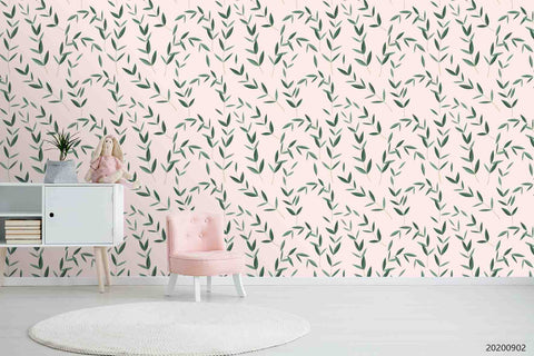 3D Hand Sketching Green Leaves Plant Pink Wall Mural Wallpaper LXL 1278