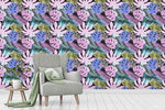 3D Hand Sketching Purple Floral Colorful Leaves Plant Wall Mural Wallpaper LXL 1336
