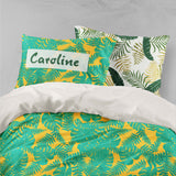 3D Green Palm Leaves Yellow Quilt Cover Set Bedding Set Pillowcases 09
