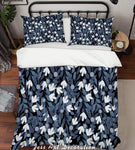 3D Grey Leaves Quilt Cover Set Bedding Set Pillowcases 133