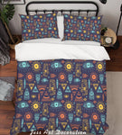 3D Simple Line-drawing Color Triangle Eye Sun Quilt Cover Set Bedding Set Pillowcases  45