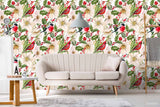 3D Hand Sketching Bird Floral Leaves Plant Wall Mural Wallpaper LXL 1353