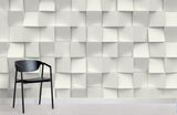 3D White Geometric Block Relief Wall Mural Wallpaper 54