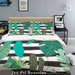 3D Green Leaves Stripes Quilt Cover Set Bedding Set Pillowcases 51