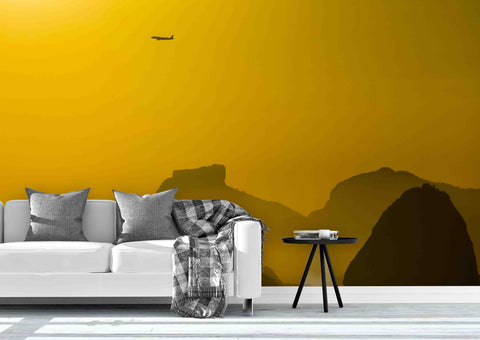 3D Yellow Mountains Wall Mural Wallpaper 66