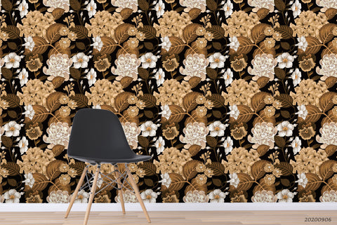 Vintage Fall White Floral Plant Pattern Wall Mural Wallpaper LXL