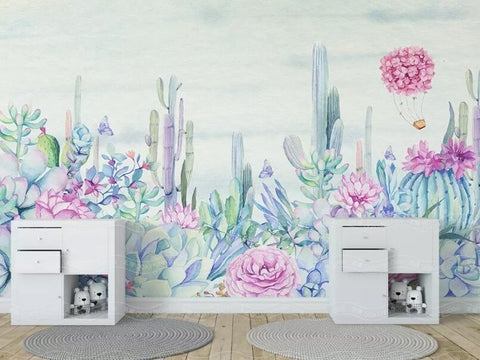 3D Watercolor Succulent Cactus Floral Wall Mural Removable 128 - Jessartdecoration