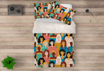 3D Crowd Avatar Cartoon Quilt Cover Set Bedding Set Pillowcases 75