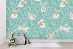 3D Green Rabbit Floral Wall Mural Wallpaper SF06